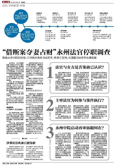 借断案夺妻占财永州法官停职调查_中国新闻